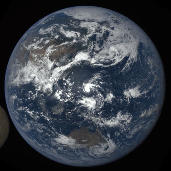 NASA's Deep Space Climate Observatory collects data for climate research. Recently the Moon decided to interfere.  Sauce: http://phys.org/news/2016-07-nasa-camera-moon-photobombing-earth.html