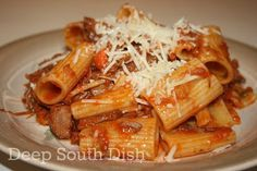 Leftover Brisket Meat Sauce with Rigatoni - A ragu made from tomatoes and leftover brisket and tossed with rigatoni pasta.
