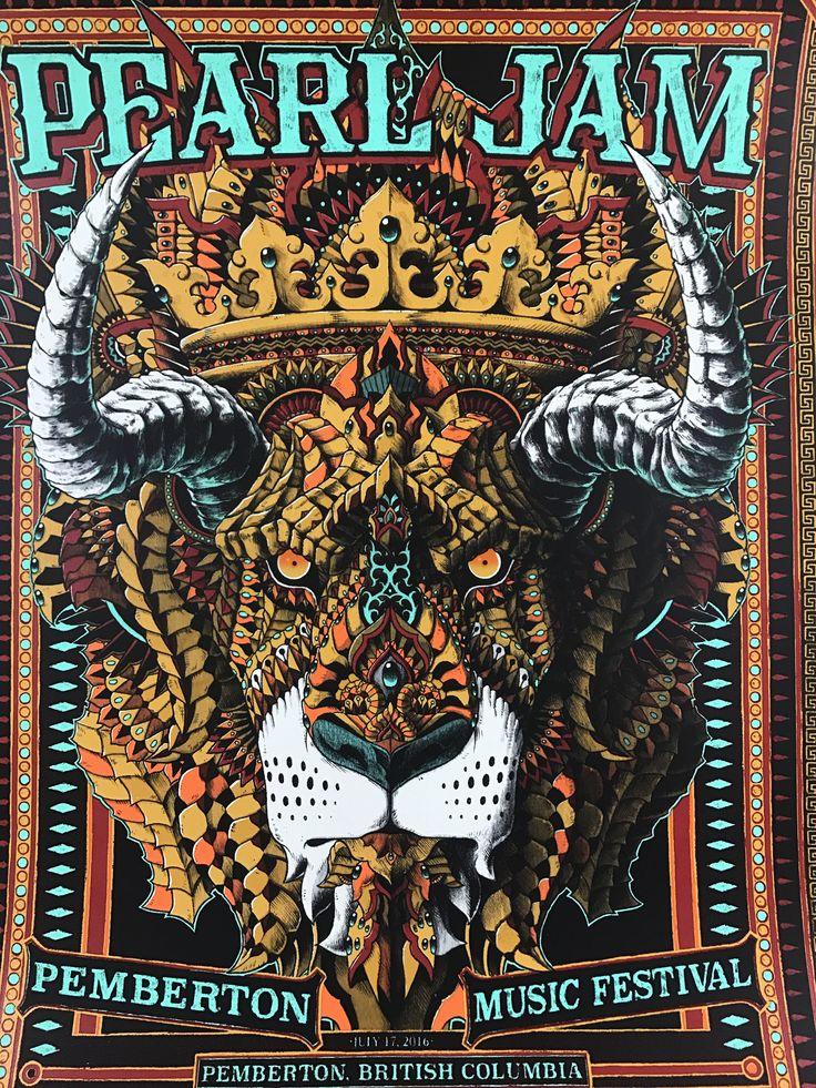 Pearl Jam - 2016 BioWorkZ poster Pemberton Music Festival BC show