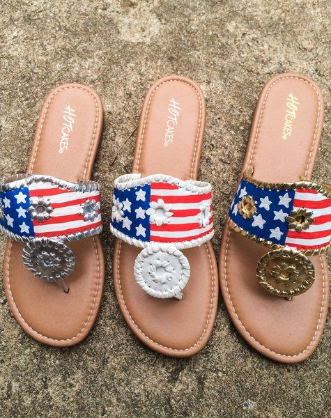 American Flag USA Hand Painted Jack Rogers | Lilly Southern Boutique
