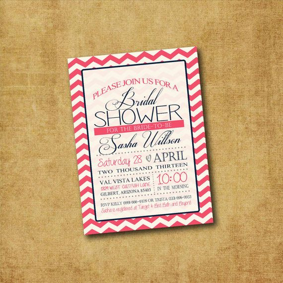 Printable Chevron Bridal Shower Invitation - Chevron Bridal Shower, Bachelorette Party, Couples Shower, Lingerie Party, Hens Night