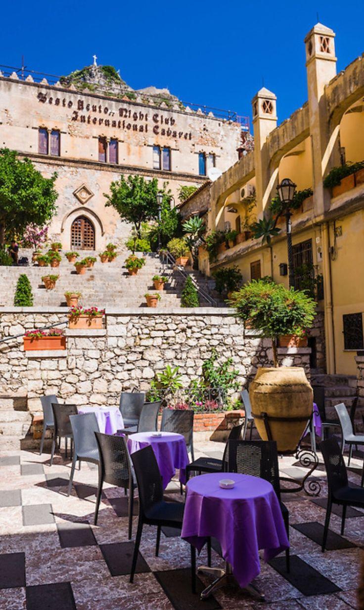 Taormina, Palazzo Ciampoli on Corso Umberto, the main street in the centre of Taormina, Sicily, Italy, Europe | Matthew Williams-Ellis: Travel Photographer