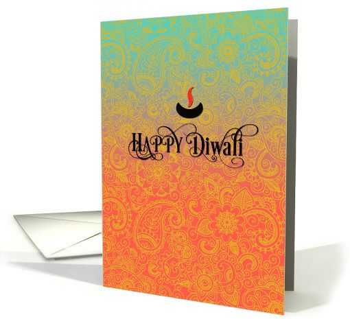 Sari Pattern in Blue, Pink and Gold - Happy #Diwali greeting card - Ornate letters with diyas (oil lamp)