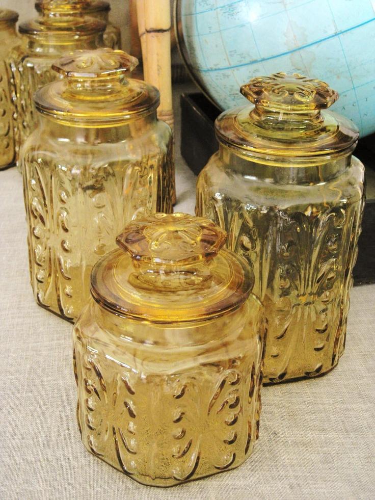 30 entire shop vintage harvest gold glass canister