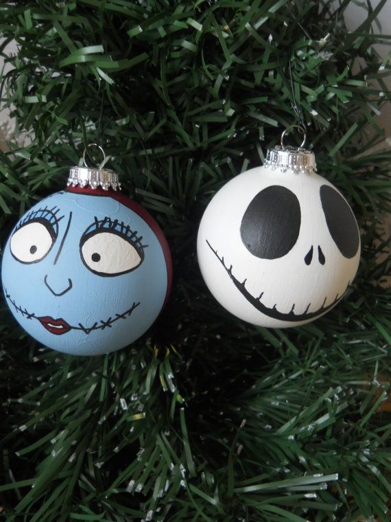 Nightmare before Christmas Jack and Sally Holiday Ornament Set on Etsy, $20.00