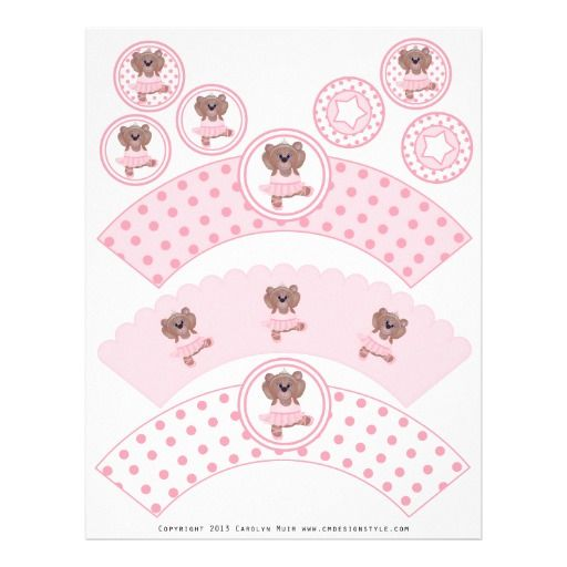 Cute Ballerina Teddy Bear DIY Party Cupcake Wrappers and Toppers ..perfect for your little girl's baby shower!