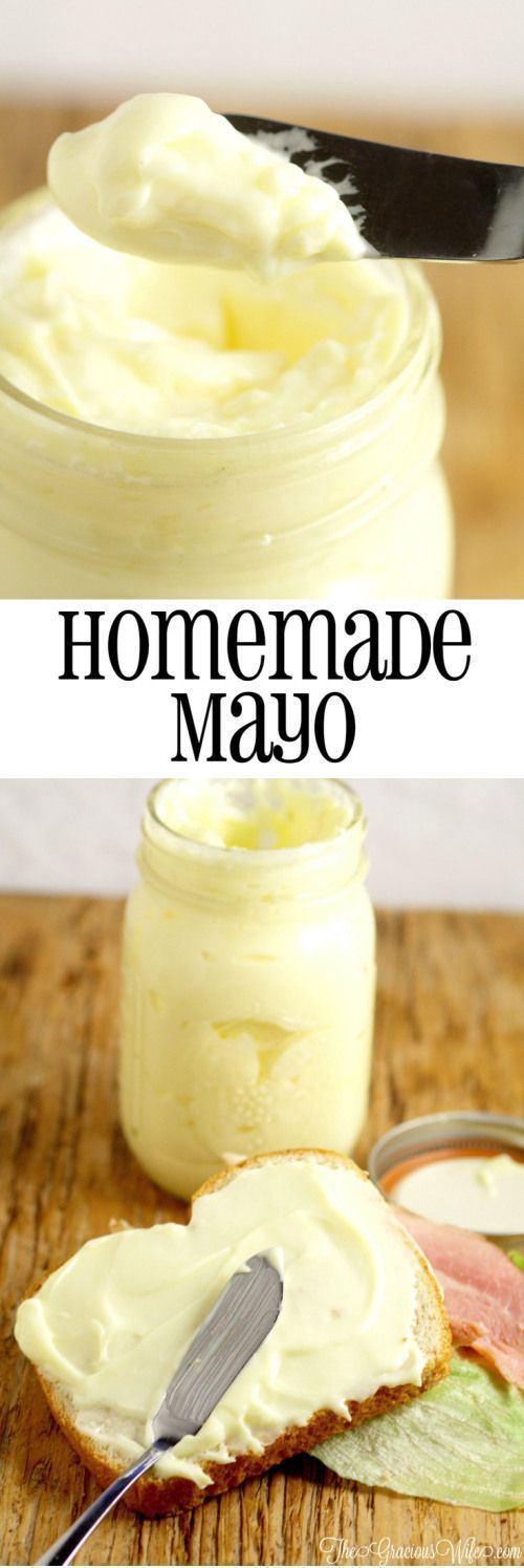 Homemade Mayo Recipe in the food processor - the perfect homemade base for sauce recipes, dip recipes, or just to add a touch of yum to your lunch.  Homemade mayo is super easy and really tasty! #HomemadeMayonnaiseRecipe
