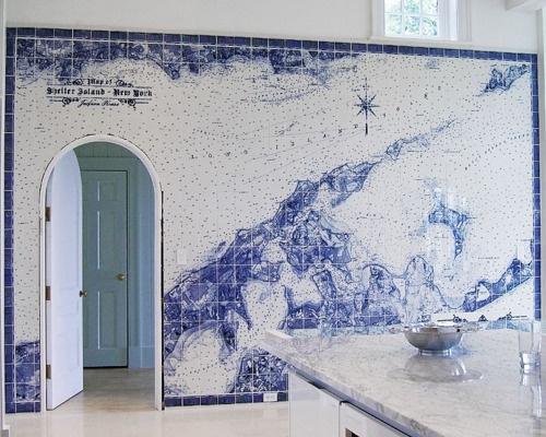 A nautical map made from Spanish tilesin the kitchen ofa Shelter Island, New York Beach house.