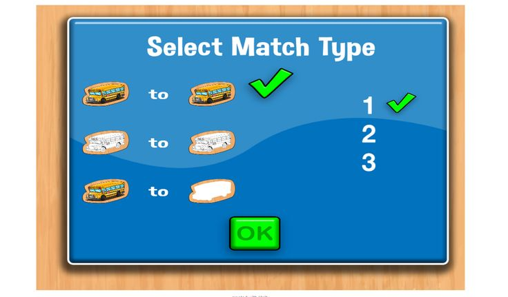Select Match type menu. 3 modes and # of stacks