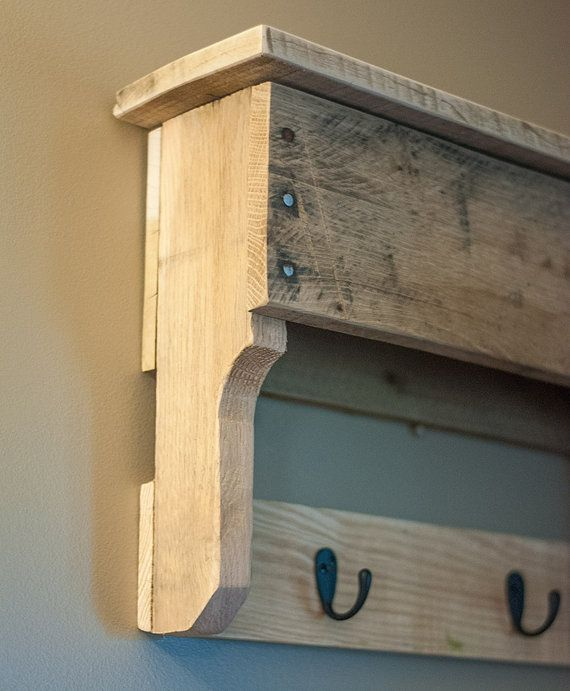 Entryway Coat Hooks Pallet Shelf Reclaimed by byDadandDaughter