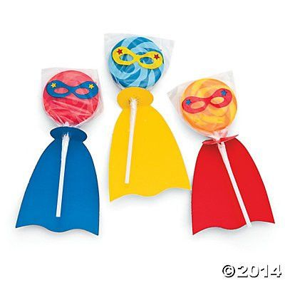 Up, up, and away! These superhero suckers are a perfect addition to your superhero party. Each round sucker is a swirl of orange and yellow colors, blues, or reds and has a cute little mask. Each suck