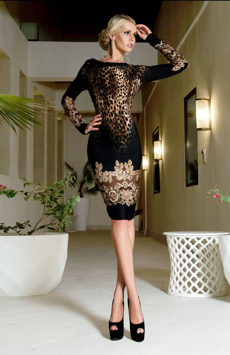 Show off your hourglass figure in this bodycon cocktail dress with its animal print design.