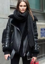 Image result for shearling veste femme noir