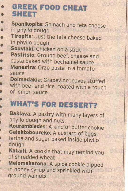 ~Greek Food Cheat Sheet~  #greece  #dining #helps