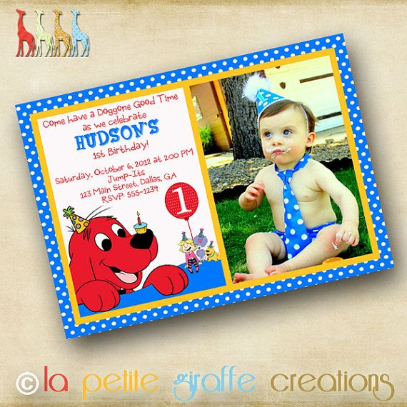 The PERFECT Birthday invitation for a Clifford the Big Red Dog Party!  Can be found at www.etsy.com/shop/lapetitegiraffe