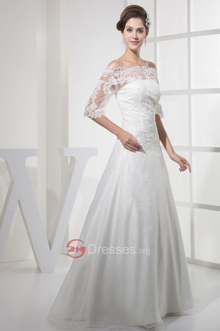 veľkoobchod mimo rameno pol rukávy saténu a čipky svadobné šaty obchod - Svatebnisaty2014.eu