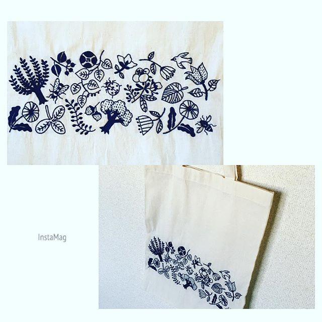 エコバッグ刺繍にハマりました(^-^) 妹のリクエストでこの図案2回目⚘  #樋口愉美子  #yumikohiguchi  #1色刺繍と小さな雑貨  #無印エコバッグ #刺繍