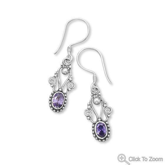 Oxidized Amethyst Earrings with Beaded Edge        Price: $35.99