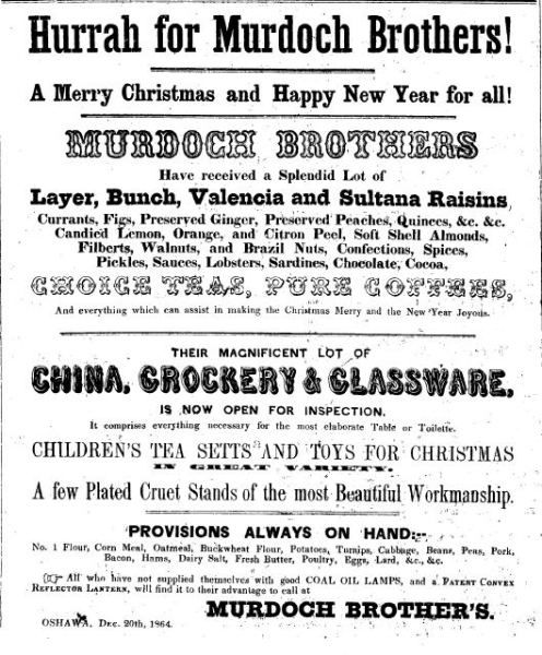 Murdoch Brothers, 1860s newspaper advertisement