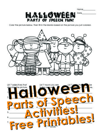 Squarehead Teachers: Halloween parts of speech activity for kids. Free printable worksheet!