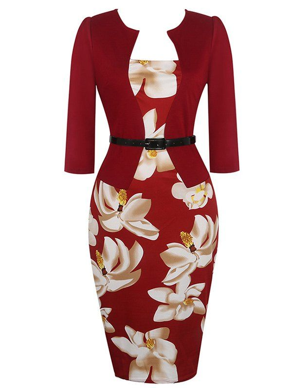 Flower Print Jacket Look Pencil Dress - WINE RED S