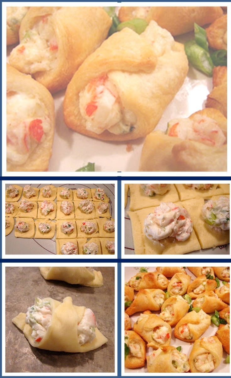 Crab Filled Crescent Wontons- 1-8 oz. tube crescent roll dough; 3 oz. cream cheese, softnd; ¼ c. mayo; ¾ c. cooked crabmeat, chopped; 2 green onions, chopped; 1/8- ¼ tsp. cayenne pepper; salt + pepper. 375°F. Spray cookie sheet. Create rectangle. Cut into 6 rows - 4 rows to make 24 squares. Mix remaining ingreds. Divide mix. Roll as per picture. Brush with egg white, opt. Bake 10-15 min til golden brown. Remove from cookie sheet. Serve warm. Cooked app (sausages, thick stew, jalepino mozza)