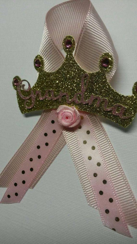 Pink gold Grandma to Be Pin princess tiara crown baby shower theme corsage
