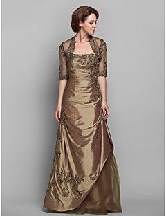 Lanting Bride® Trapèze Grande Taille / Petite Robe de Mère de Mariée - Etole Incluse Longueur Sol Demi Manches Dentelle / Taffetas -