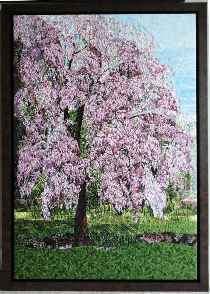 """Kali's Cherry Tree"" Quilted and framed, about 36"" x 40"""