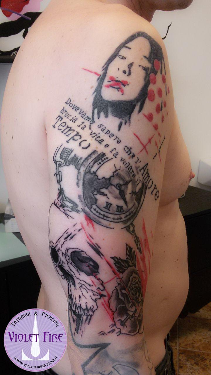tatuaggio grande, tatuaggio artistico - Tatuaggio Trash Polka Geisha, Orologio, Teschio, Rosa su Braccio - Violet Fire Tattoo - tatuaggi maranello, tatuaggi modena, tatuaggi sassuolo, tatuaggi fiorano - Adam Raia