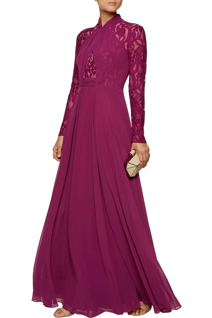 Shop on-sale Mikael Aghal Lace-paneled chiffon gown. Browse other discount designer Dresses & more on The Most Fashionable Fashion Outlet, THE OUTNET.COM