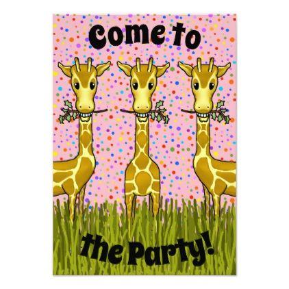 #Giraffes Party Invitation - #birthdayinvitation #birthday #party #invitation #cool #invitations
