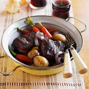 Rich broth and tender falling-off-the-bone meat make this dish, full of potatoes and carrots, a delicious winner. It's perfect for casual dinner parties.