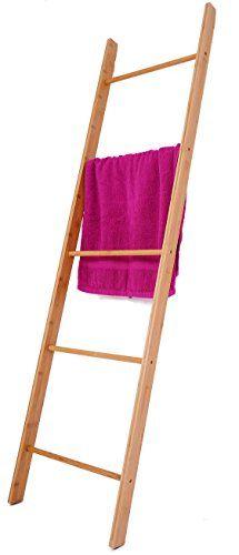 Bambus Handtuchleiter - 170x45 cm - Handtuchhalter Bad Regal - Handtuch Ständer Leiter