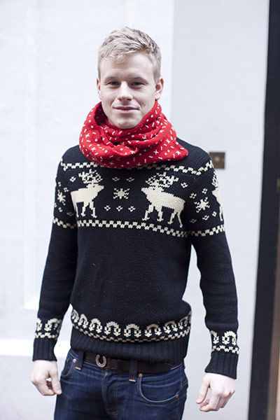 ".so the tag says, ""return of the christmas sweater""--but this is actually just a nordic pattern knit. I recommend giving it a chance because it's a print (this one is not offensive) , it's simple colors, and boy is it useful."