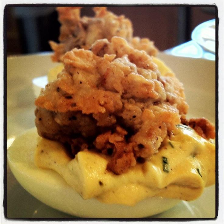 Deviled Eggs with Tarragon and Crispy Rappahannock Oysters via Chef Ashley Christensen of Poole's Diner in Raleigh, NC