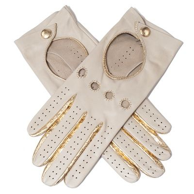 cream and gold leather driving gloves, $140 / posh lady