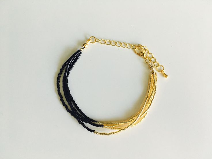 Gold/Black Multistrand beaded bracelet for women, Miyuki beads 11/0 - Handmade in Montreal by SamsCharmz on Etsy