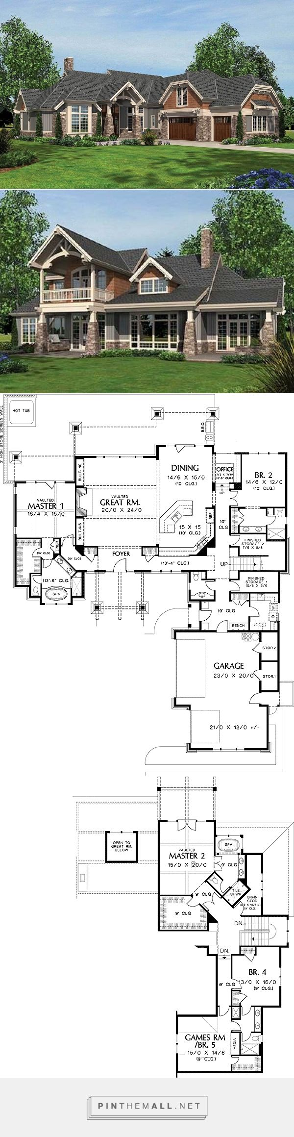 4318 sq. ft arts and crafts design with two master suites.