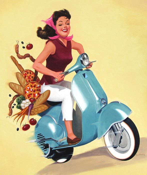 Illustration by Eric Bowman  LindgrenSmith.com  #mopeds #scooters #vespa