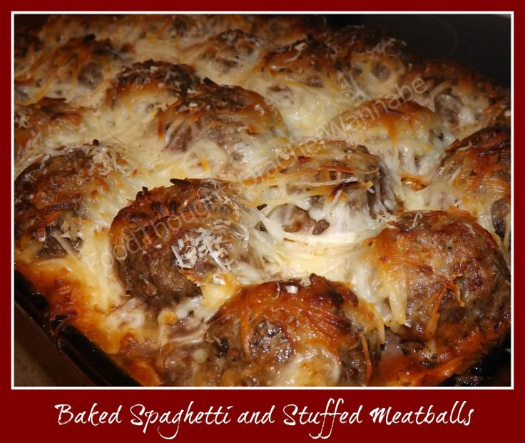FoodThoughtsOfaChefWannabe: Baked Spaghetti and Stuffed Meatballs