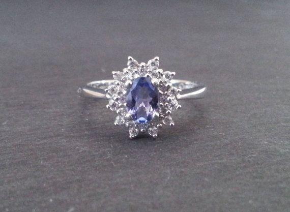Tanzanite Ring Diamond Ring, Purple Engagement Ring, Gold Tanzanite & Diamond Halo Ring, Vintage Wedding Jewelry  ……………………………………………………………….