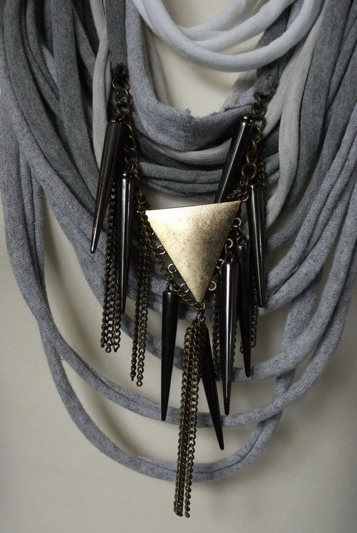 Upcycled t-shirt scarf: Gray and with big impressive pendant [700] by StripsUp on Etsy