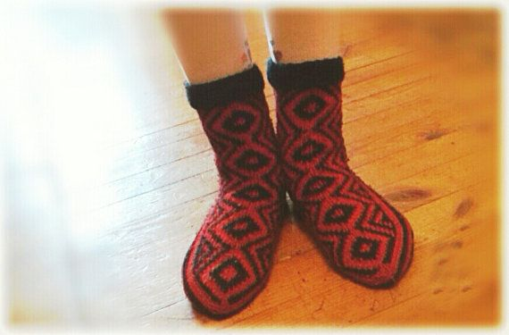 Warm Black and Red Children's Socks by WarmandCozyKnits on Etsy