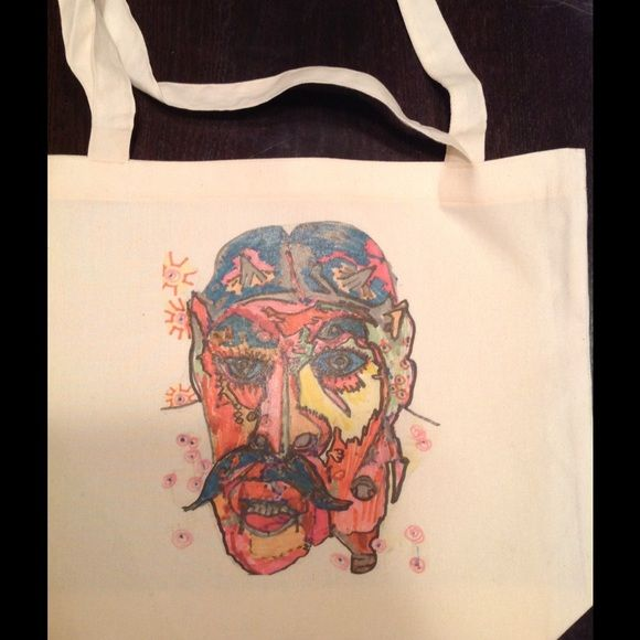 """Genie"" tote bag ! Hand drawn design screened on natural, 17.5x18"" American apparel tote bag. Nwot❤️ American Apparel Bags Totes"