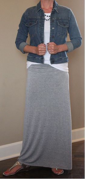 Gray maxi skirt, denim jacket, white tee, and silver t-strap sandals - get the look for less! www.wearitforless.com
