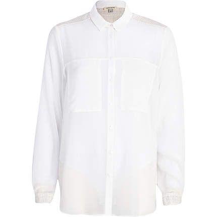 White perforated yoke shirt £30.00