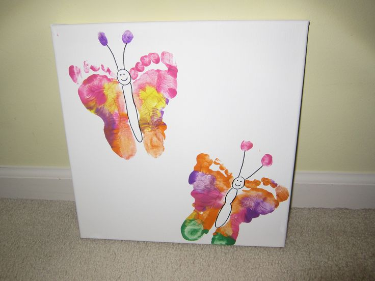 Cute art idea for kids! Butterflies made from foot prints!