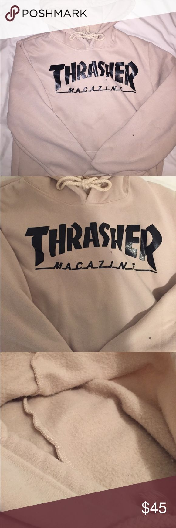 Never worn thrasher nude hoodie This is super soft and new! Trendy sweatshirt reading thrasher. It's a pretty tan/taupe color. Super rare, price is negotiable:) (BM for exposure) Brandy Melville Sweaters