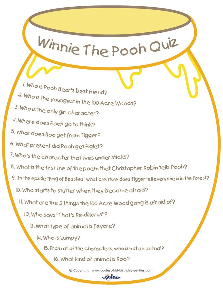 Hereu0027s A Great Printable Winnie The Pooh Quiz You Can Use At A Party Or Just